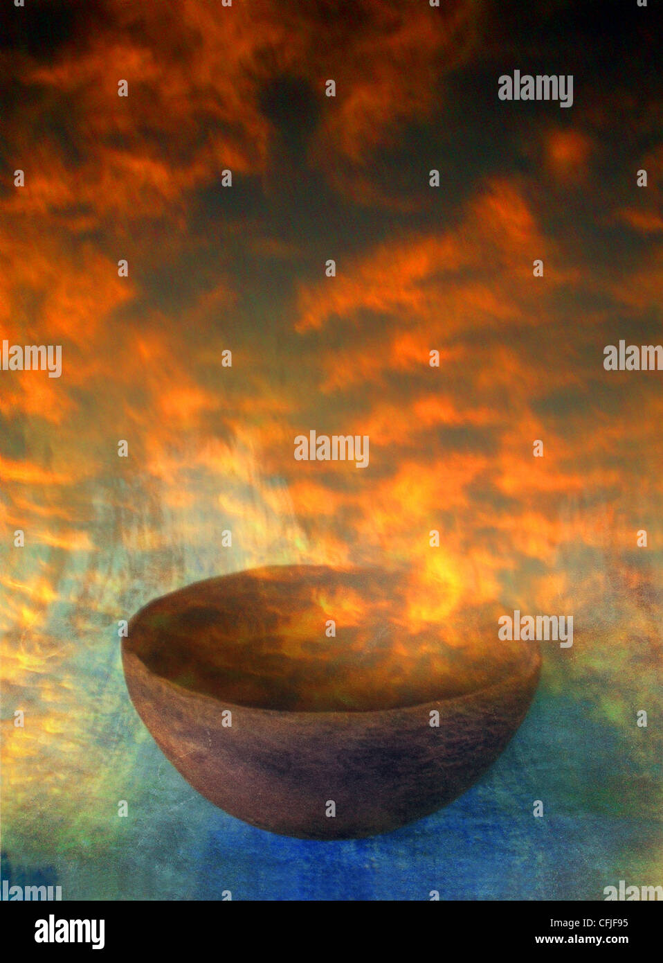 Dawn rising from an ancient bowl. - Stock Image