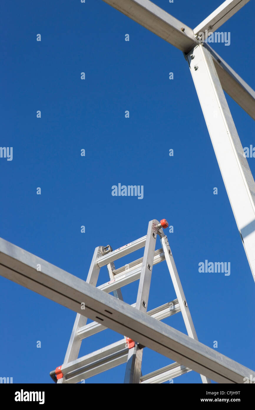 Beams and stepladder with blue sky Stock Photo