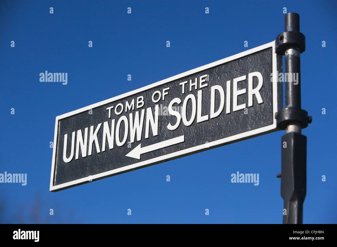 Sign for Tomb of the Unknown Soldier, Arlington National Cemetery, Virginia, USA - Stock Image