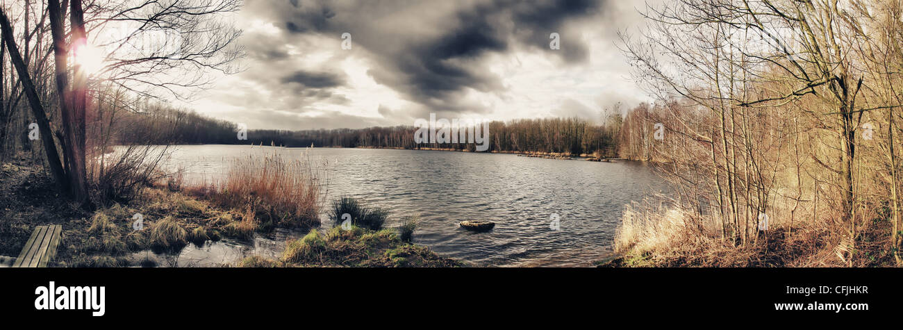 Peaceful lake scene - Stock Image