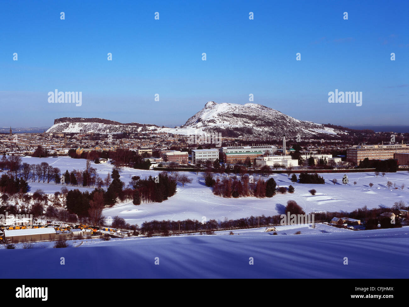 Arthur's Seat and central Edinburgh viewed from Braid Hills, Edinburgh - Stock Image
