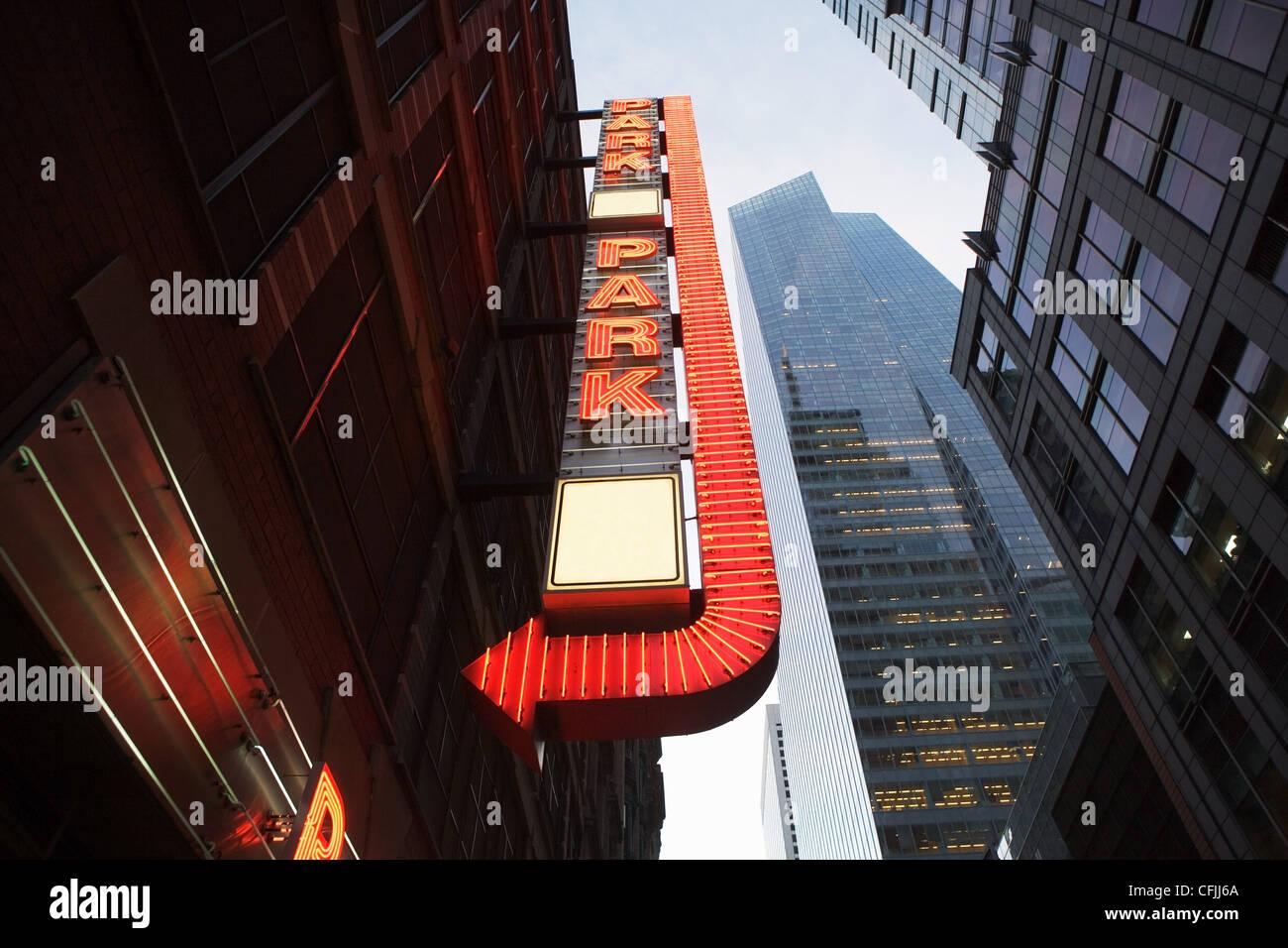 Car park sign, New York City, USA - Stock Image