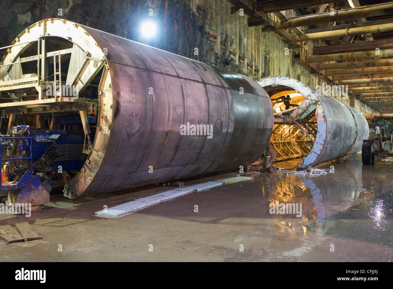 Tunnels, construction of Second Avenue Subway, New York City, USA - Stock Image