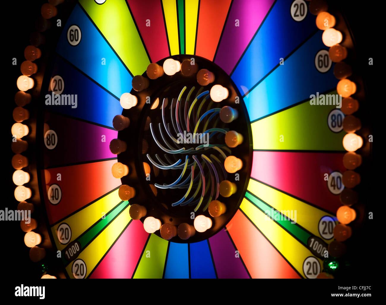 Brightly colored casino wheel - Stock Image