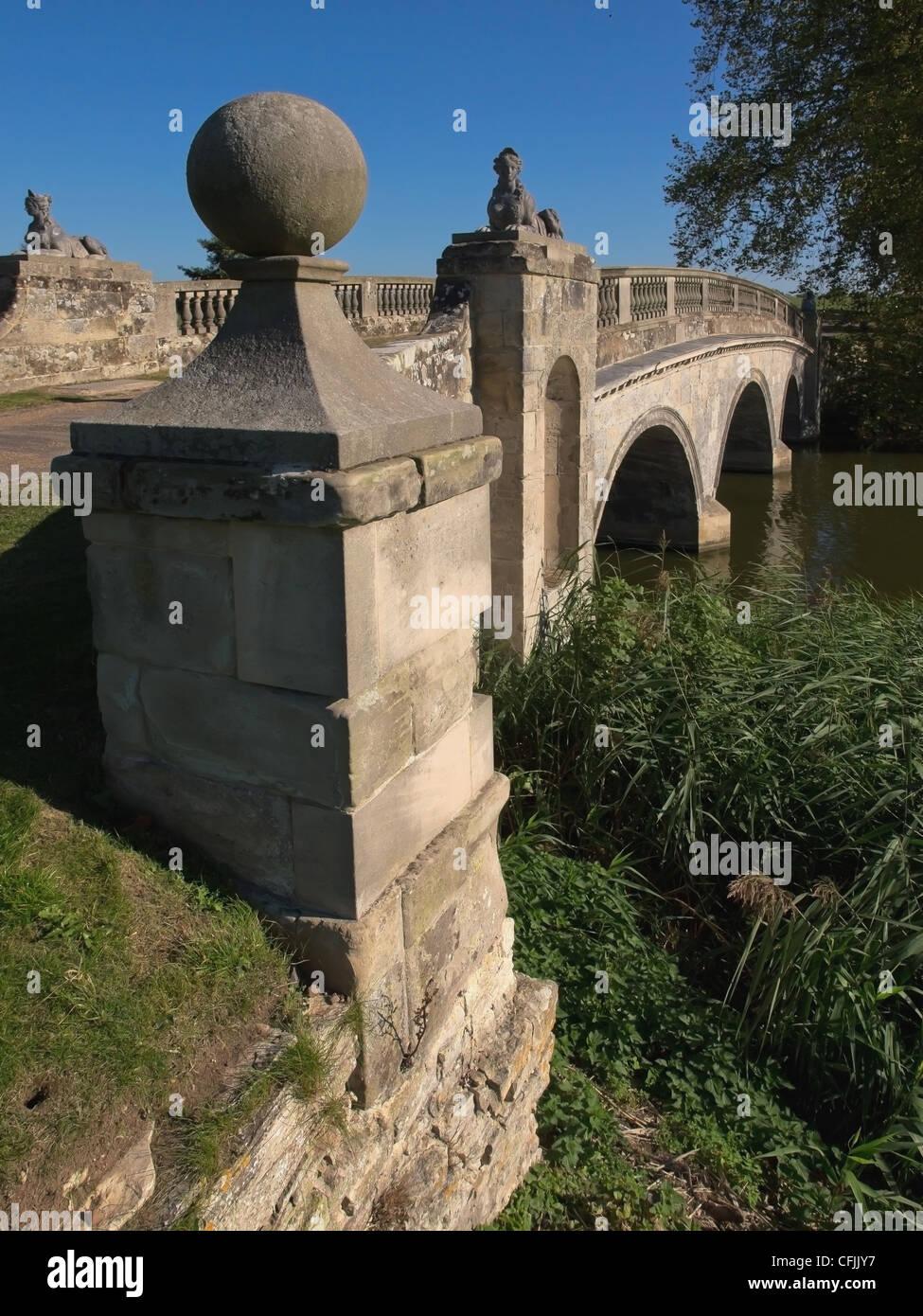 Robert Adam bridge, Compton Verney estate, Warwickshire, England, United Kingdom, Europe - Stock Image