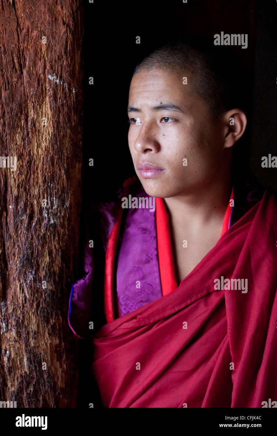 Young Buddhist monk, Wangdue Phodrang (Wangdi), Bhutan, Asia - Stock Image