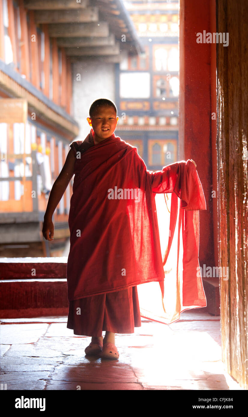 Young Buddhist monk in red robes backlit by evening sunlight at the Jakar Dzong, Jakar, Bumthang, Bhutan, Asia - Stock Image