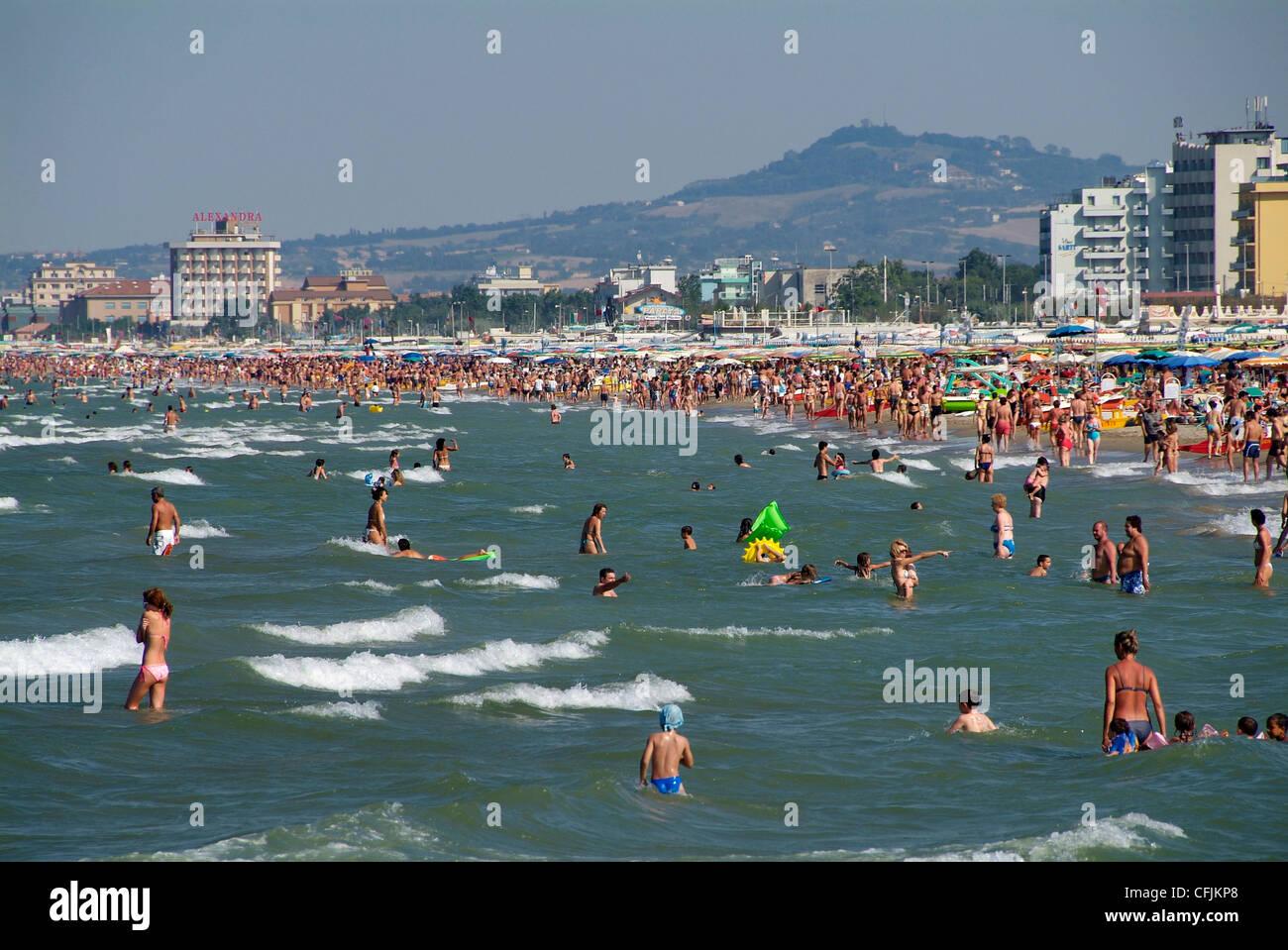 Beach at Riccione, Adriatic coast, Emilia-Romagna, Italy, Europe - Stock Image