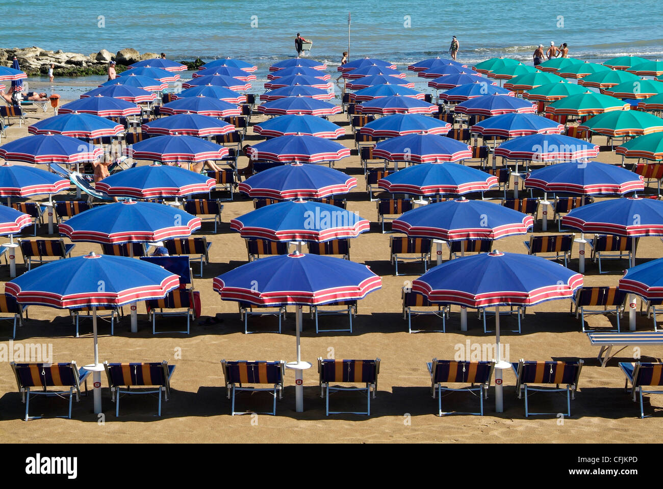 Beach at Cattolica, Adriatic coast, Emilia-Romagna, Italy, Europe - Stock Image