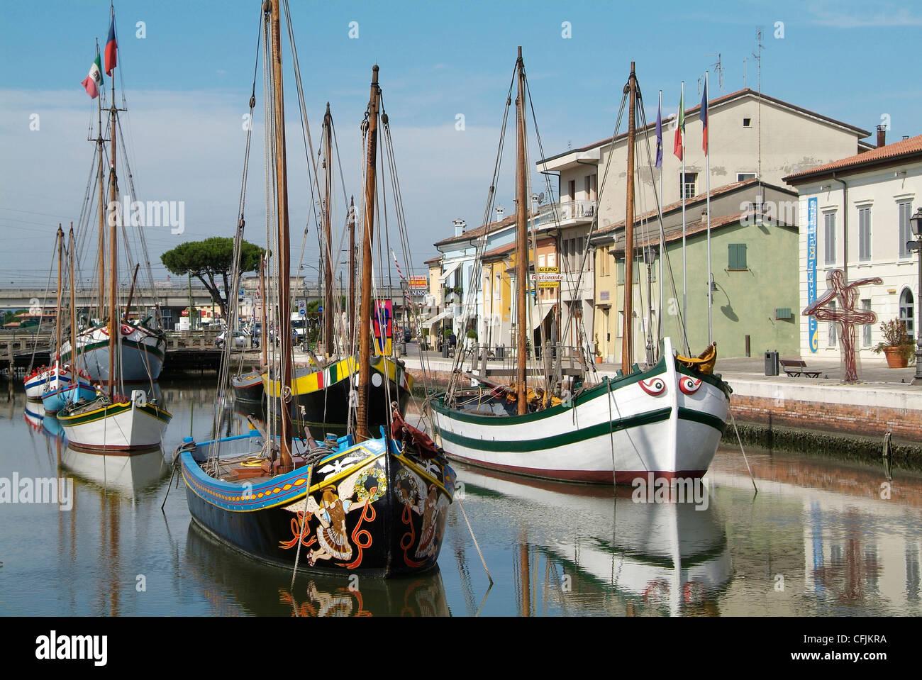 Cesenatico, harbour, Adriatic coast, Emilia-Romagna, Italy, Europe - Stock Image