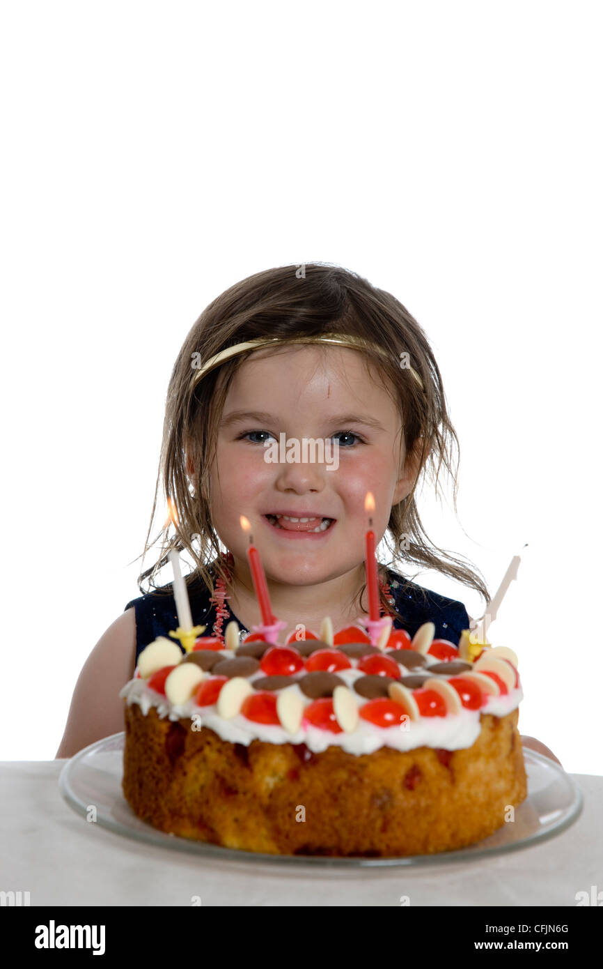 Terrific Little Girl On Fourth 4Th Birthday With Birthday Cake And Candles Funny Birthday Cards Online Sheoxdamsfinfo