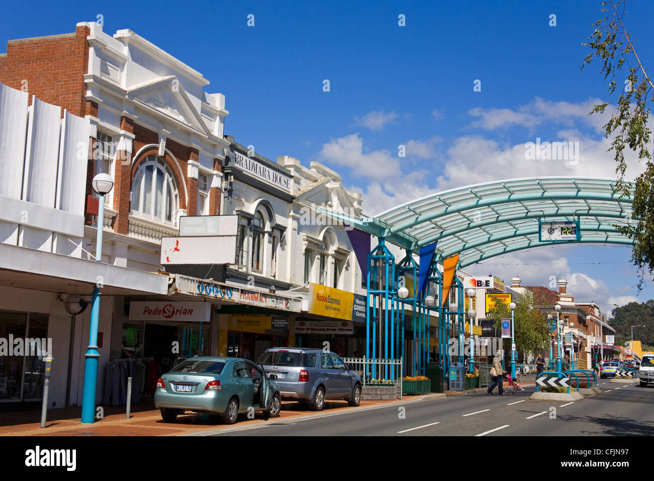 wilson street central business district burnie tasmania stock