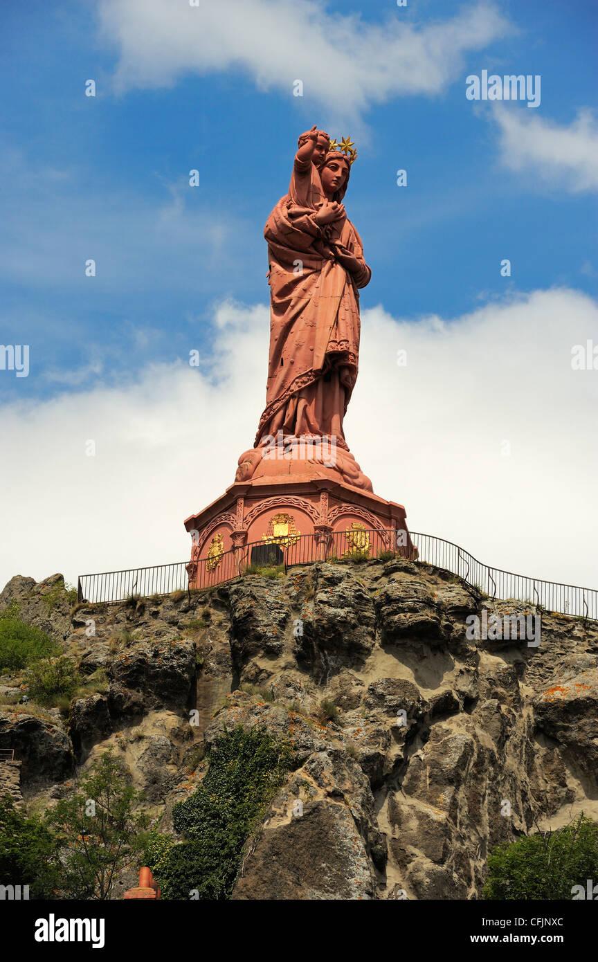 Statue of Notre-Dame-de-France, Le Puy en Velay, Haute-Loire, Massif Central, France, Europe Stock Photo