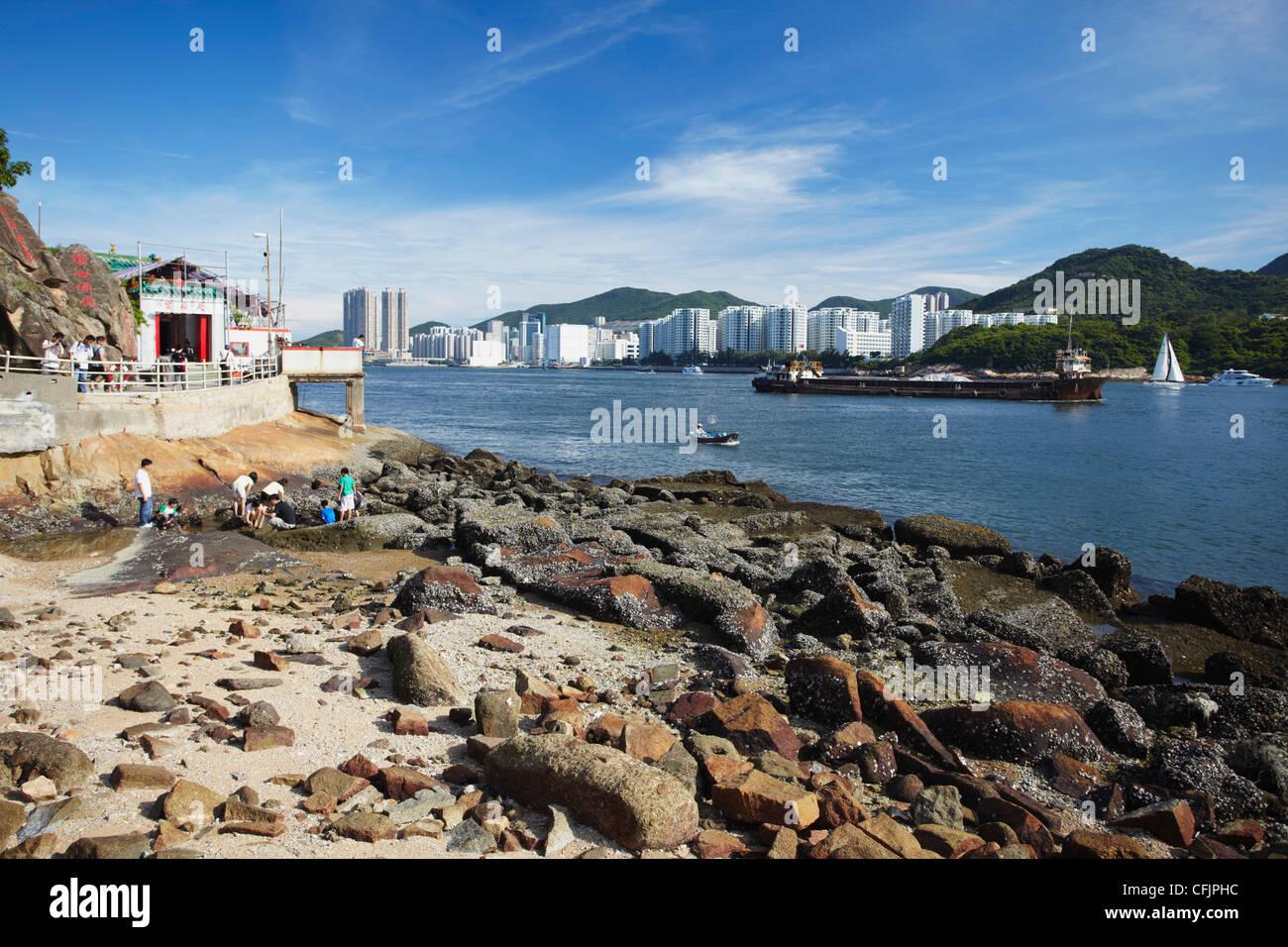 The last remaining natural coastline in Kowloon, Lei Yue Mun, Kowloon, Hong Kong, China, Asia - Stock Image