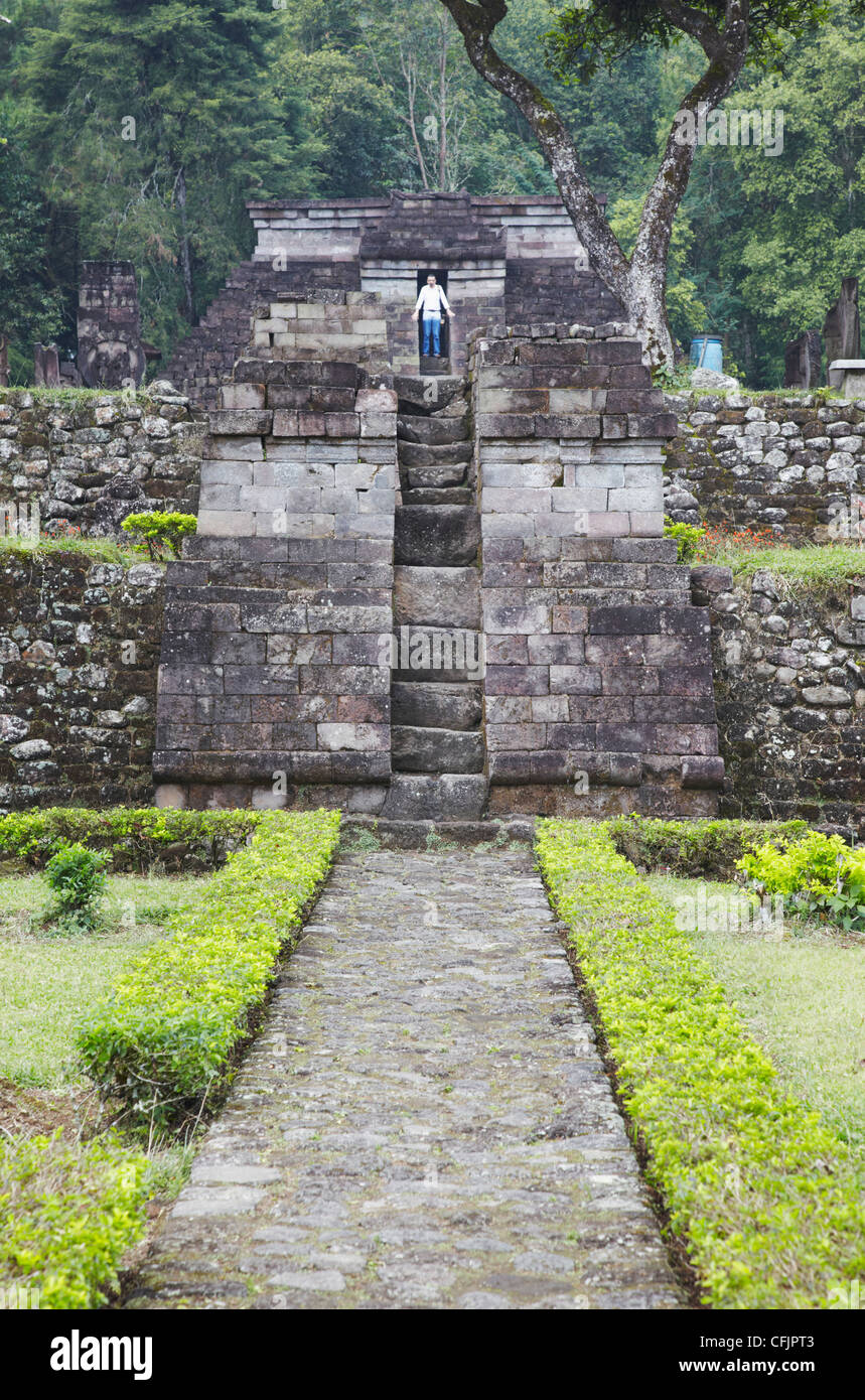 Tourist at Inca style temple built without use of mortar, Candi Sukuh, Solo, Java, Indonesia, Southeast Asia, Asia Stock Photo