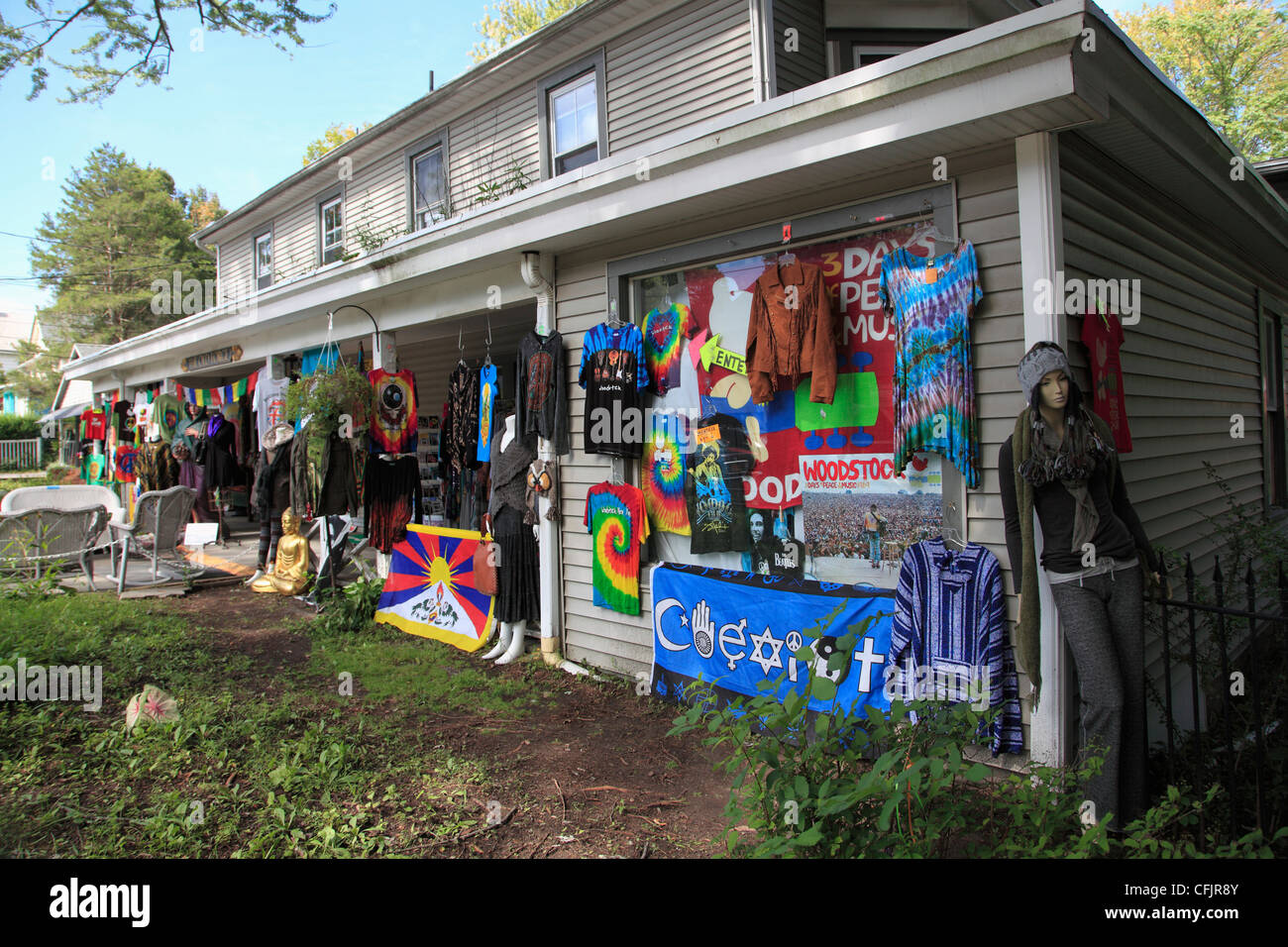 Shop selling hippie and Woodstock festival memorabilia, New York State, United States of America, North America - Stock Image