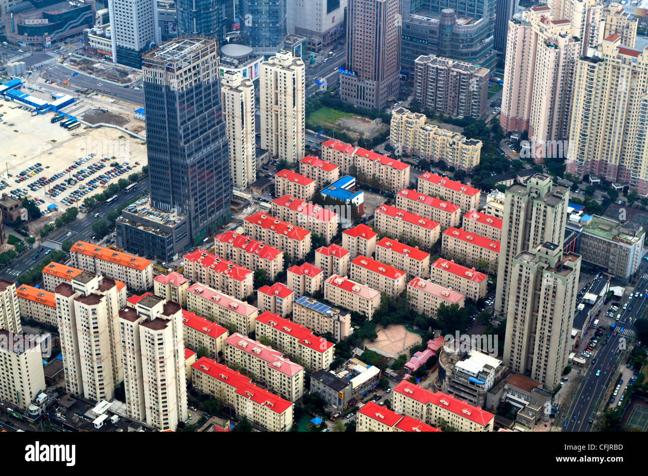 High view of urbanization development in Pudong, Shanghai, China, Asia - Stock Image