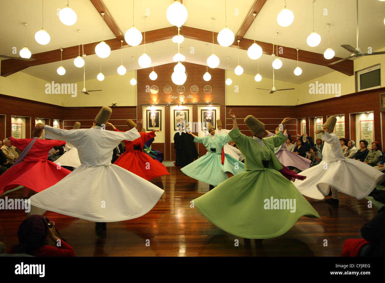 Whirling dervish performance in Silvrikapi Meylana cultural center, Istanbul, Turkey, Europe Stock Photo