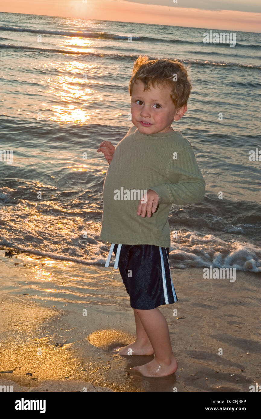 4 Year Boy Bedroom Decorating Ideas: Cute 4 Year Old Boy Playing Near Lake Michigan Shoreline