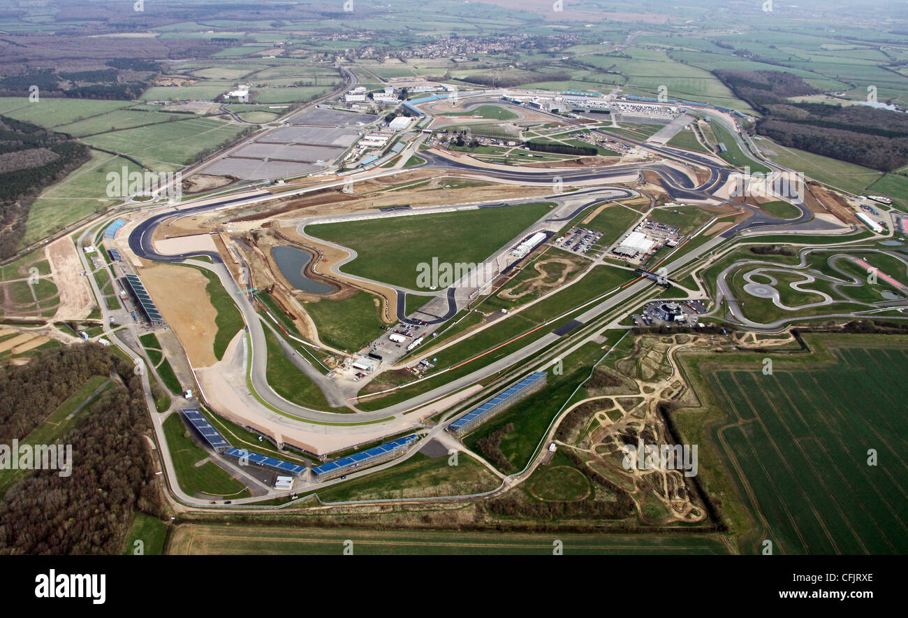 Aerial view of Silverstone racing circuit in Northamptonshire - Stock Image