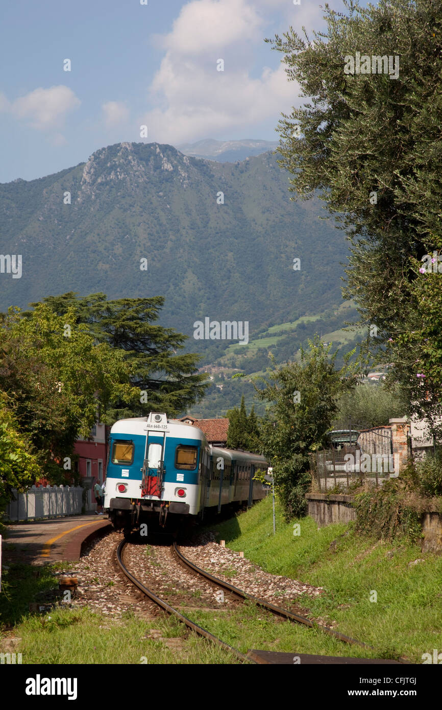 Train, Sale Marasino, Lake Iseo, Lombardy, Italy, Europe - Stock Image