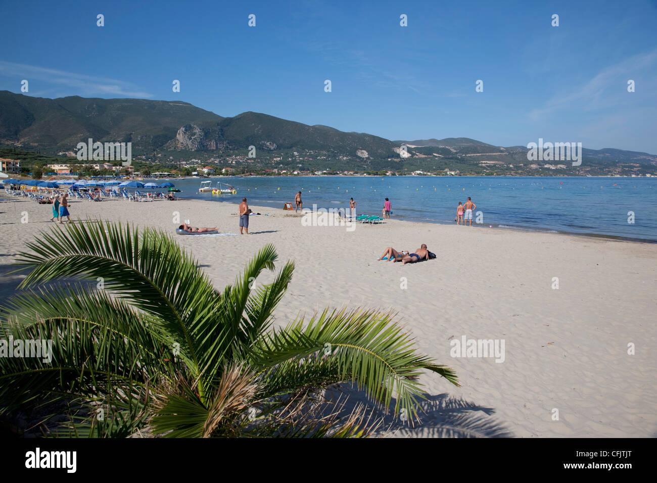 Beach scene, Alykanas, Zakynthos, Ionian Islands, Greek Islands, Greece, Europe - Stock Image