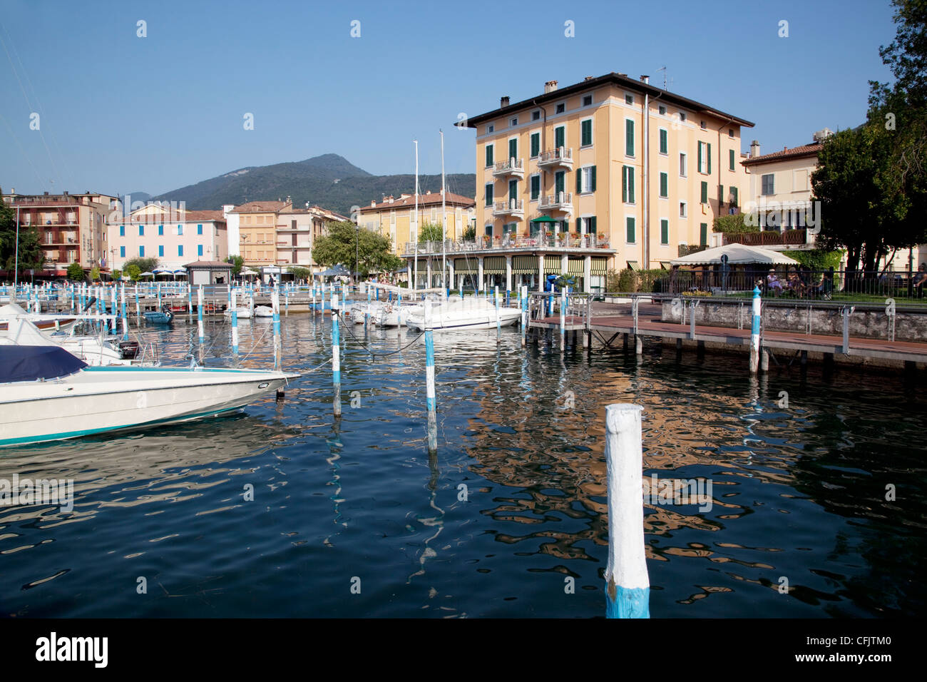 Harbour and boats, Iseo, Lake Iseo, Lombardy, Italian Lakes, Italy, Europe - Stock Image
