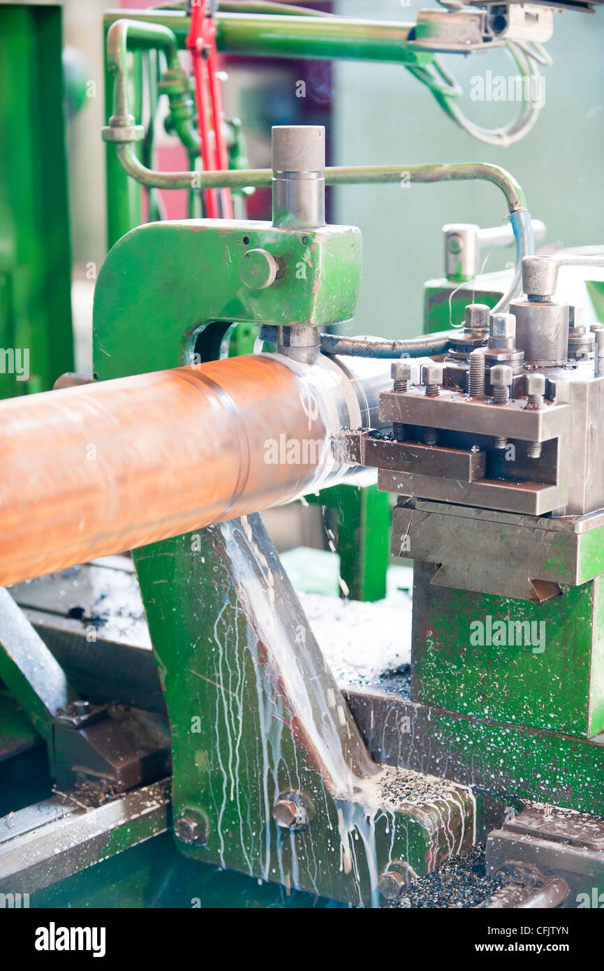 Lathe Turning Stainless Steel - Stock Image