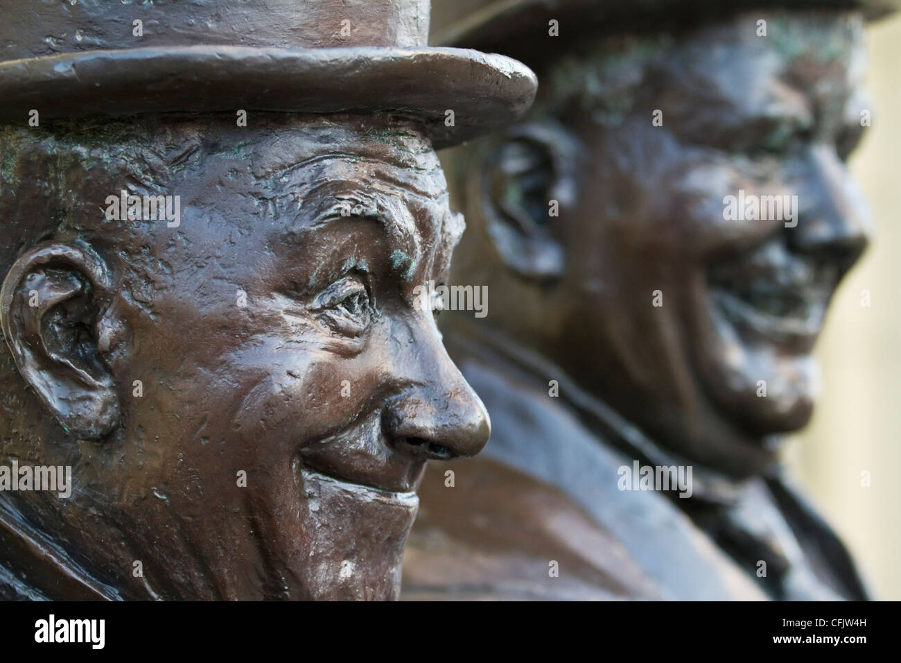 Statue of Stan Laurel and Oliver Hardy, by Graham Ibbeson, on display in Laurel's hometown of Ulverston, Cumbria, Stock Photo