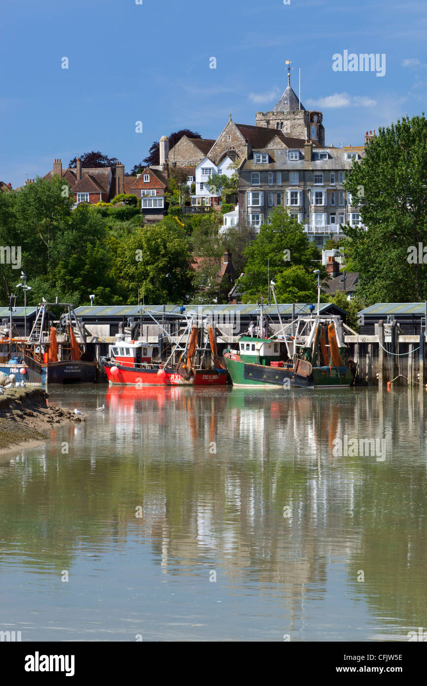 Fishing harbour on River Rother, old town, Rye, East Sussex England, United Kingdom, Europe - Stock Image