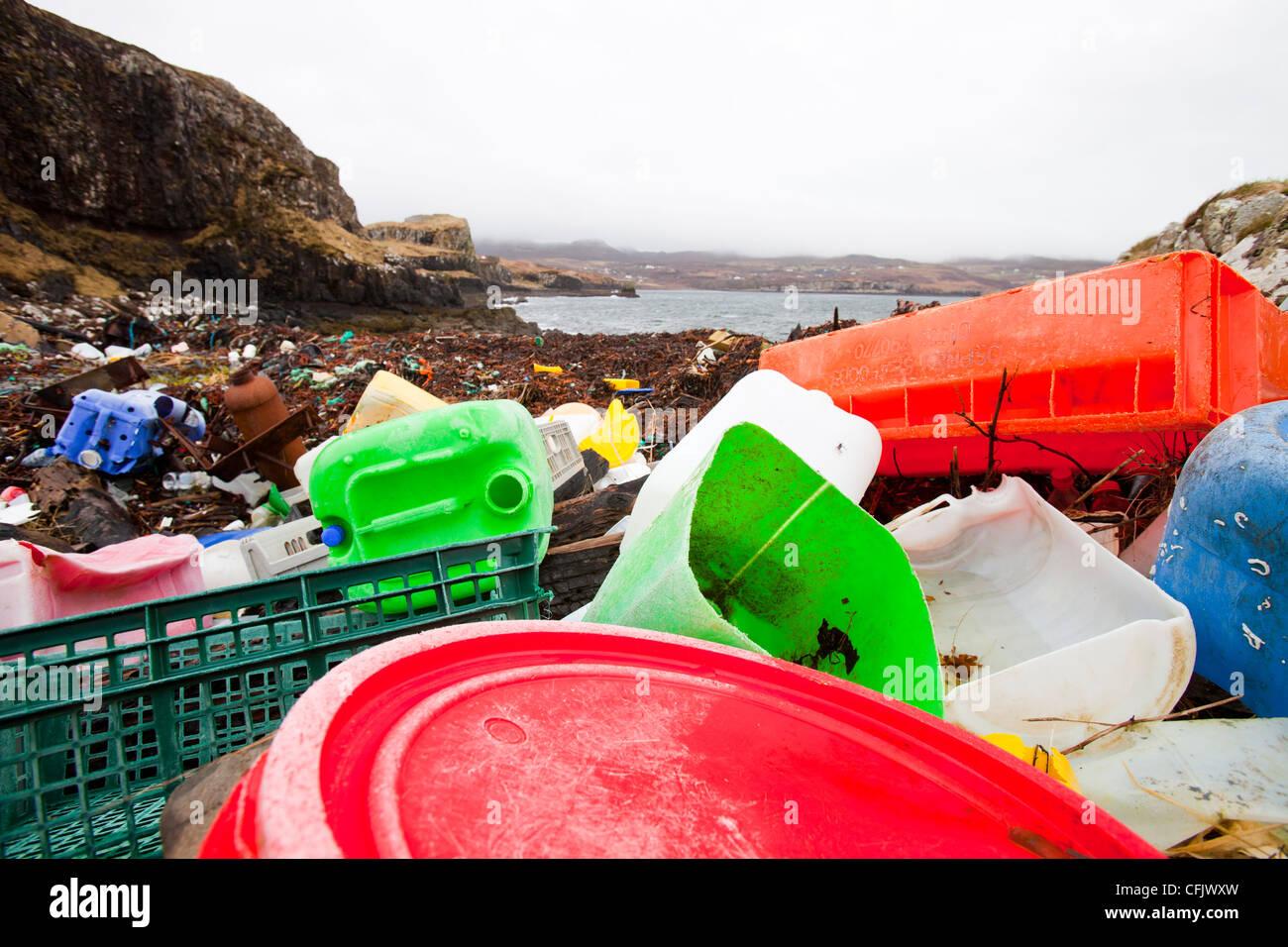 Plastic debris washed ashore at Ardtreck Bay on the Isle of Skye, Scotland, UK. Stock Photo