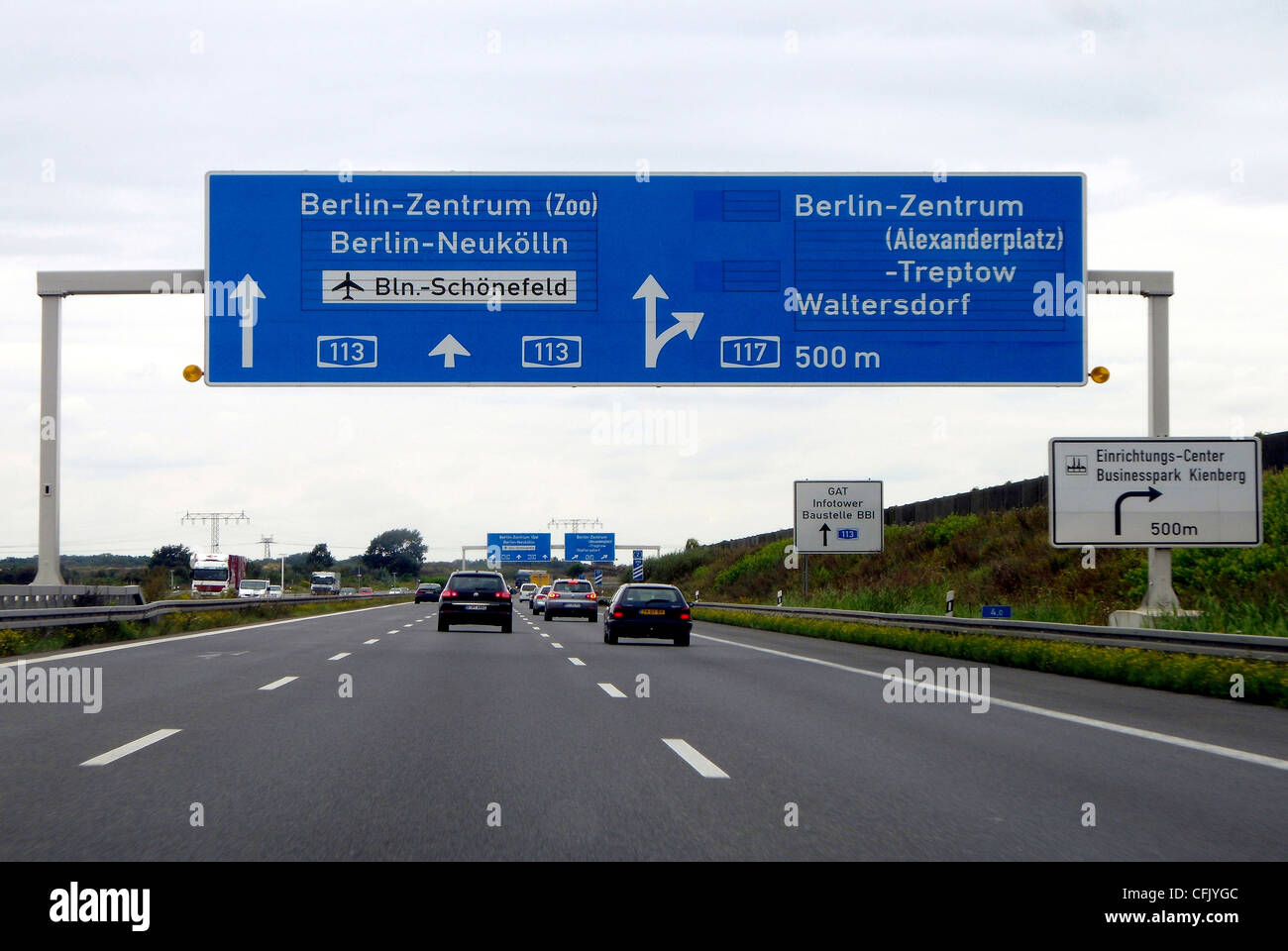 Motorway in front of the Schoenefelder Kreuz in the direction of the Airport BBI in Schoenefeld. - Stock Image