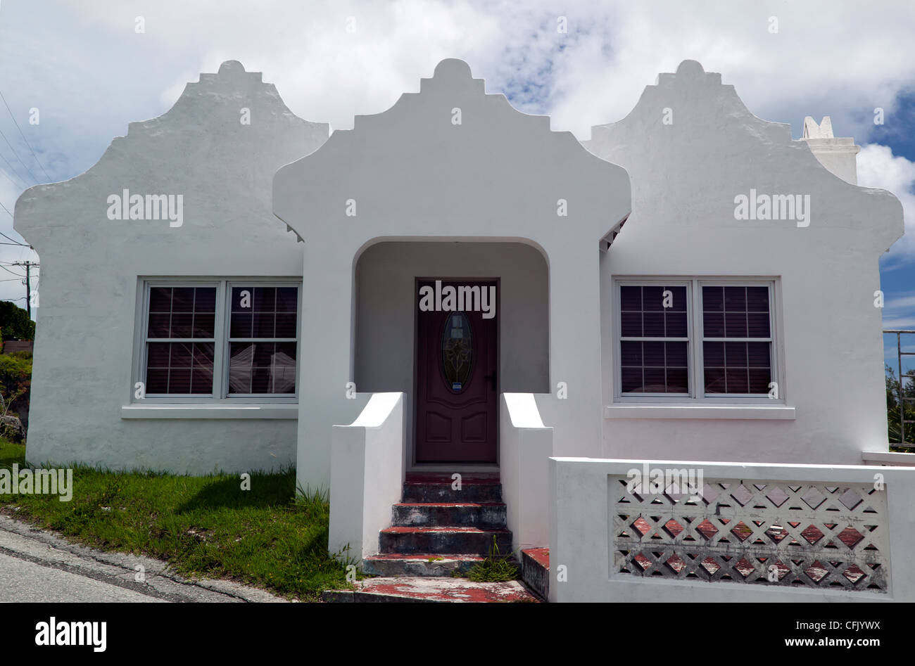 The front elevation of a Bermudan House, - Stock Image
