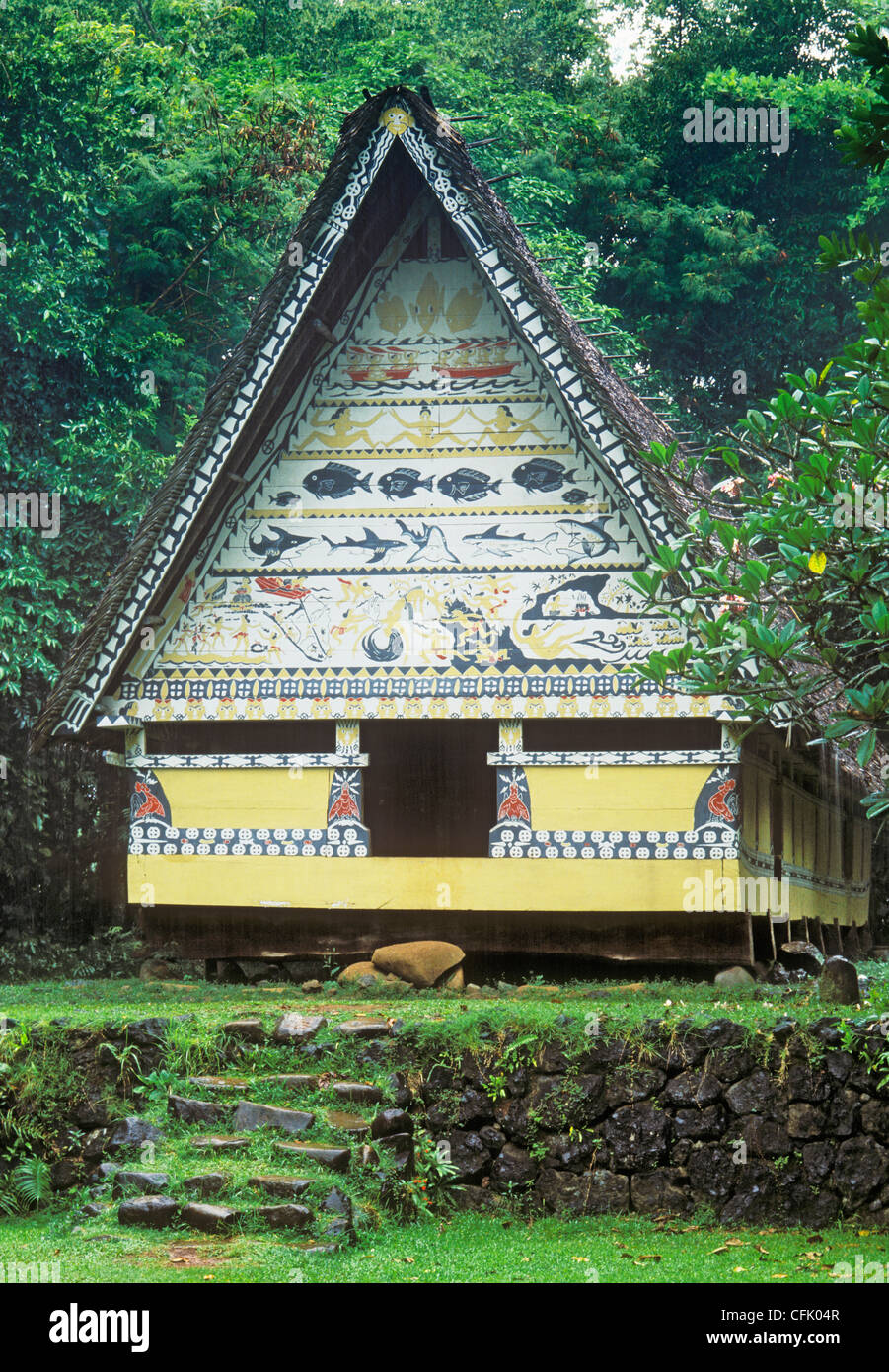 Palau, Micronesia: a Bai - traditional Palauan communal meeting center with painted legends over entry. - Stock Image