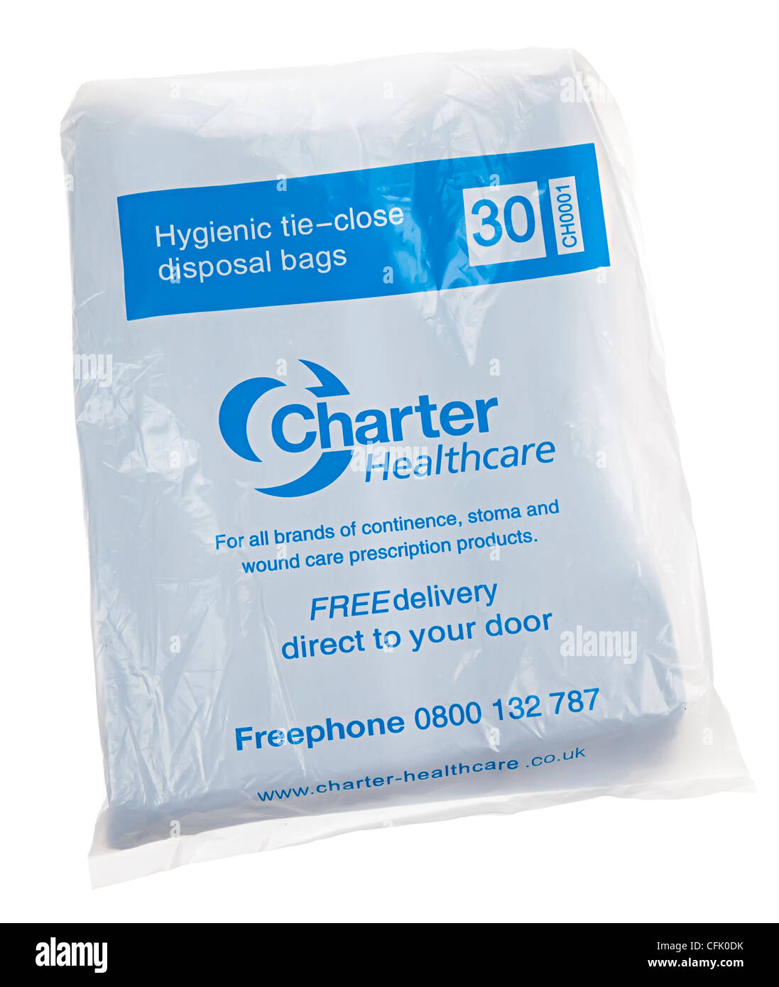 Hygienic tie close disposal bags for medical waste incontinence home use, UK - Stock Image