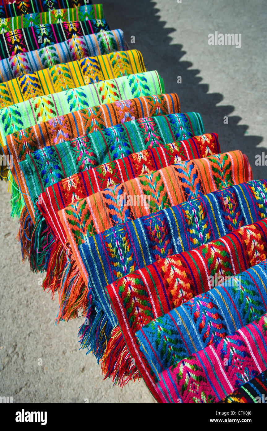 Blankets woven by local Tarahumara Indians, for sale by street vendor in Divisadero; Copper Canyon, Chihuahua, Mexico. - Stock Image