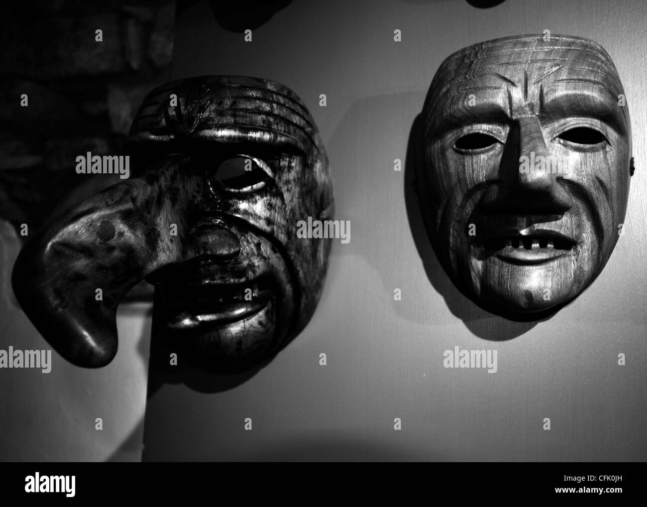 Traditional wood masks, Schignano Lake of Como Lombardy Italy - Stock Image