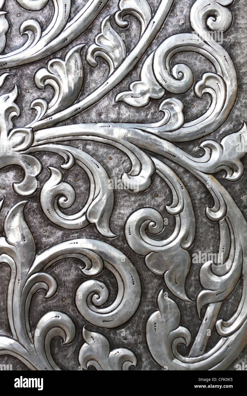 metalwork on vintage door - Stock Image