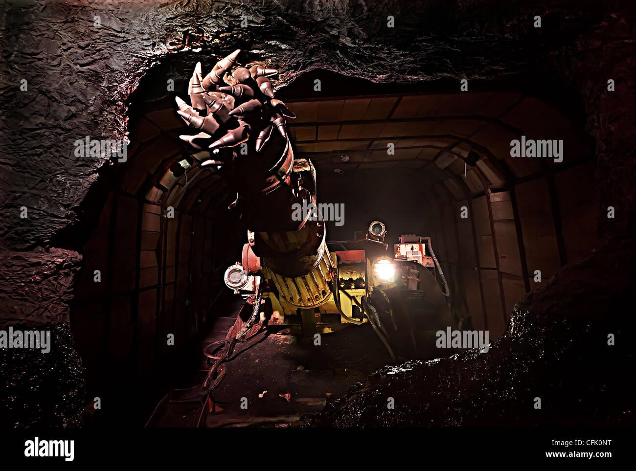 Coal mining boring machine, part of display at Big Pit mining museum, Blaenavon, Wales, UK Stock Photo