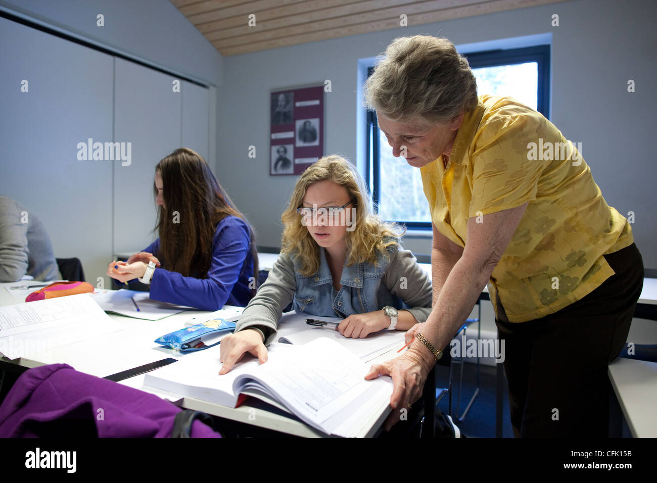 A-Level students in classroom at EF International Academy Oxford, England, UK - Stock Image
