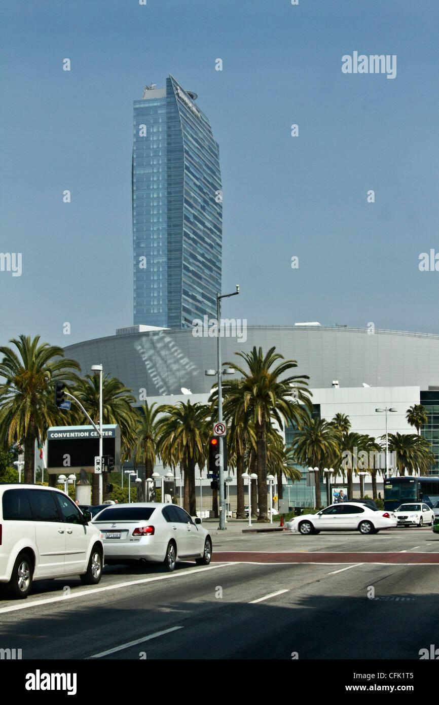 Convention center & sky scraper, Los Angeles, California - Stock Image