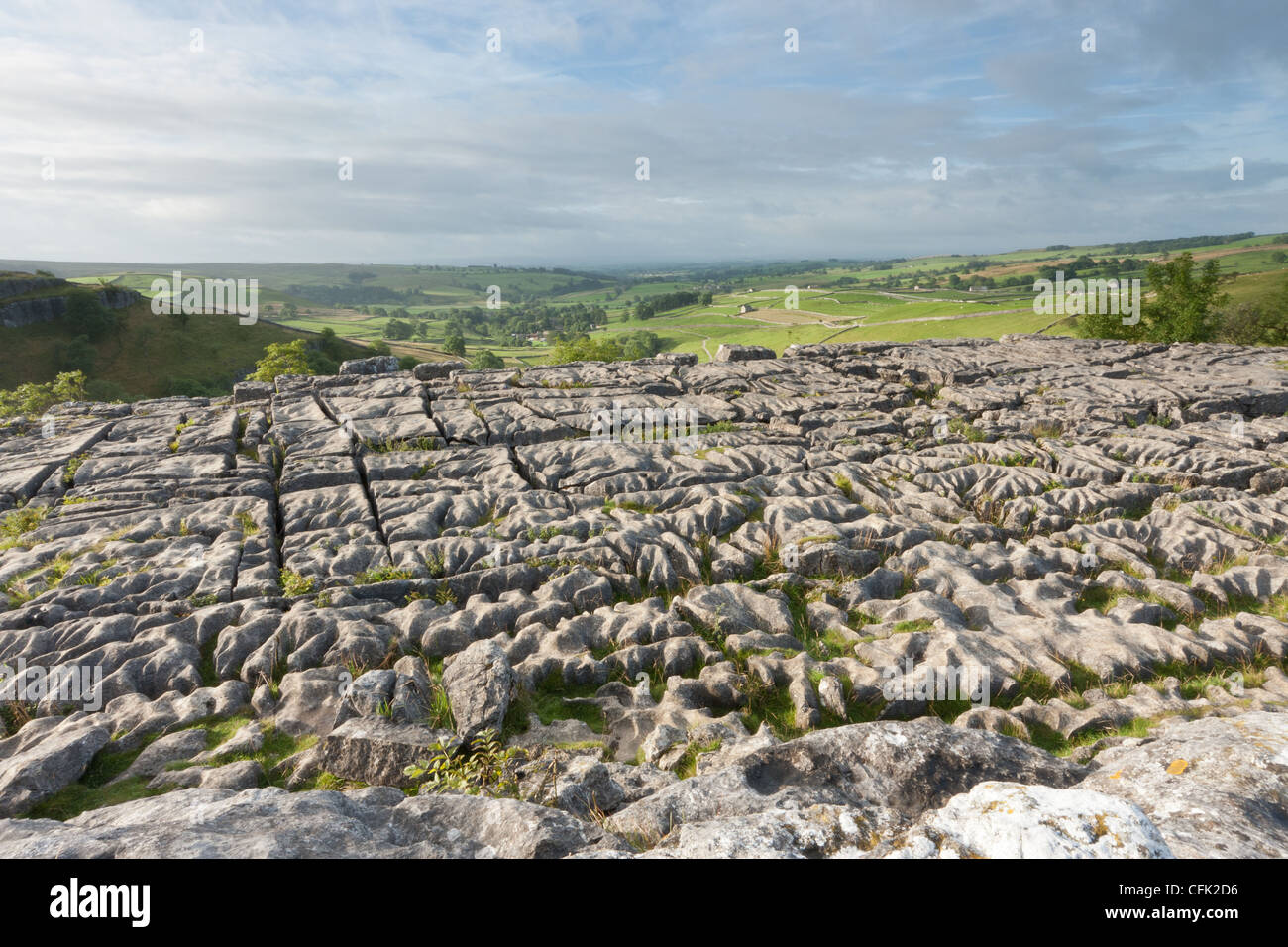 View from Malham Cove - limestone pavement in the Yorkshire Dales National Park - Harry Potter and the Deathly Hallows - Stock Image