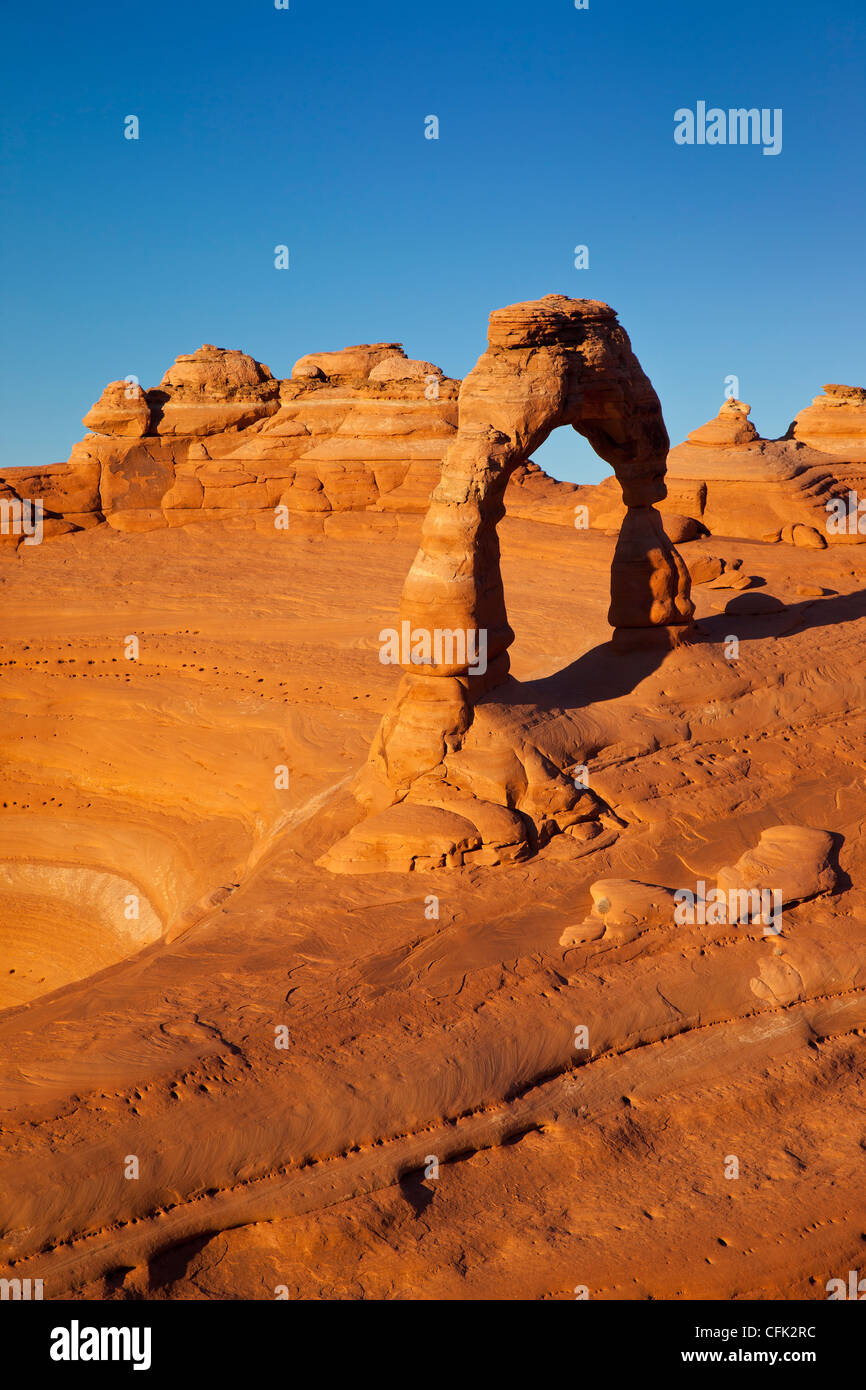Sunset over Delicate Arch, Arches National Park, Moab Utah, USA - Stock Image