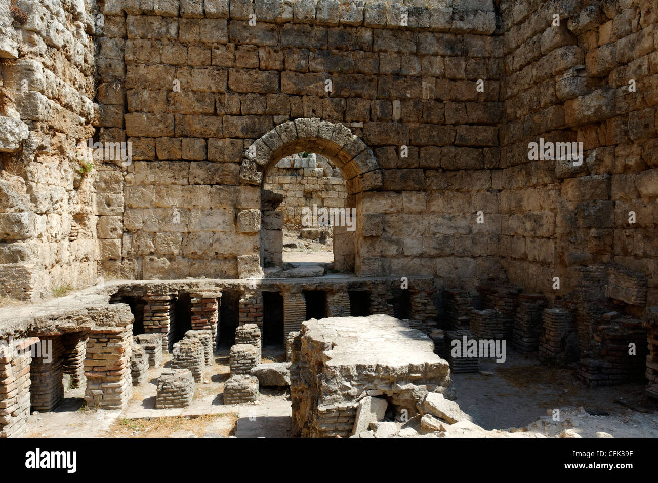 Perge. Antalya. Turkey. Hypocaust or underfloor heating system of the tepidarium or warm room at the Roman South Stock Photo