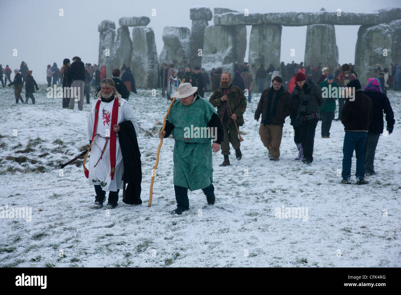 Druid ceremony during the Winter Solstice at Stonehenge, Wiltshire - Stock Image