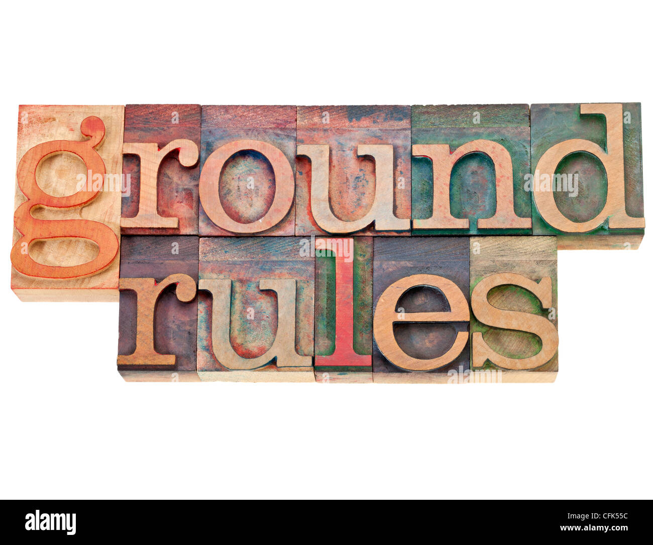 ground rules - isolated phrase in vintage letterpress wood type - Stock Image