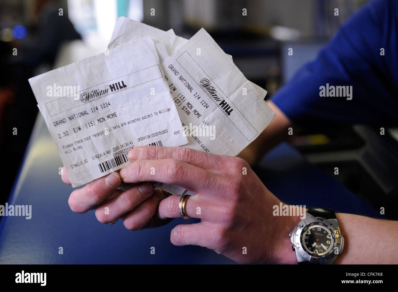 A bunch of winning betting slips at the Ross-on-Wye branch of the bookmakers William Hill which is close to the - Stock Image