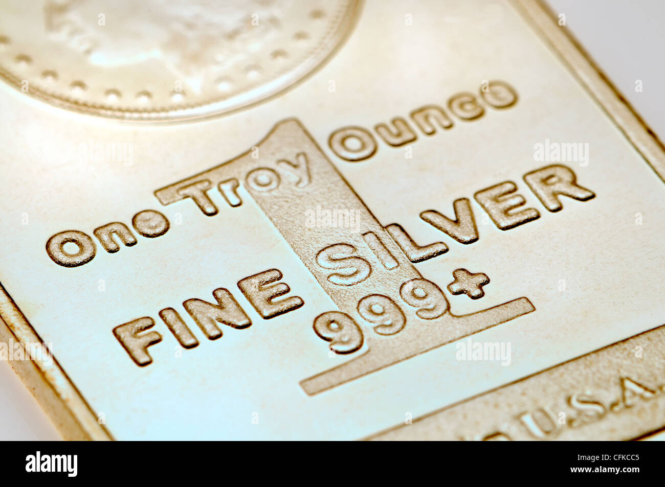 Silver bullion ingot - one troy ounce - Stock Image