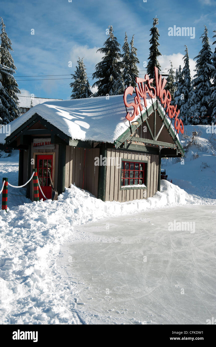 Santas Workshop And Ice Rink At Christmas Grouse Mountain Resort Vancouver British Columbia Canada