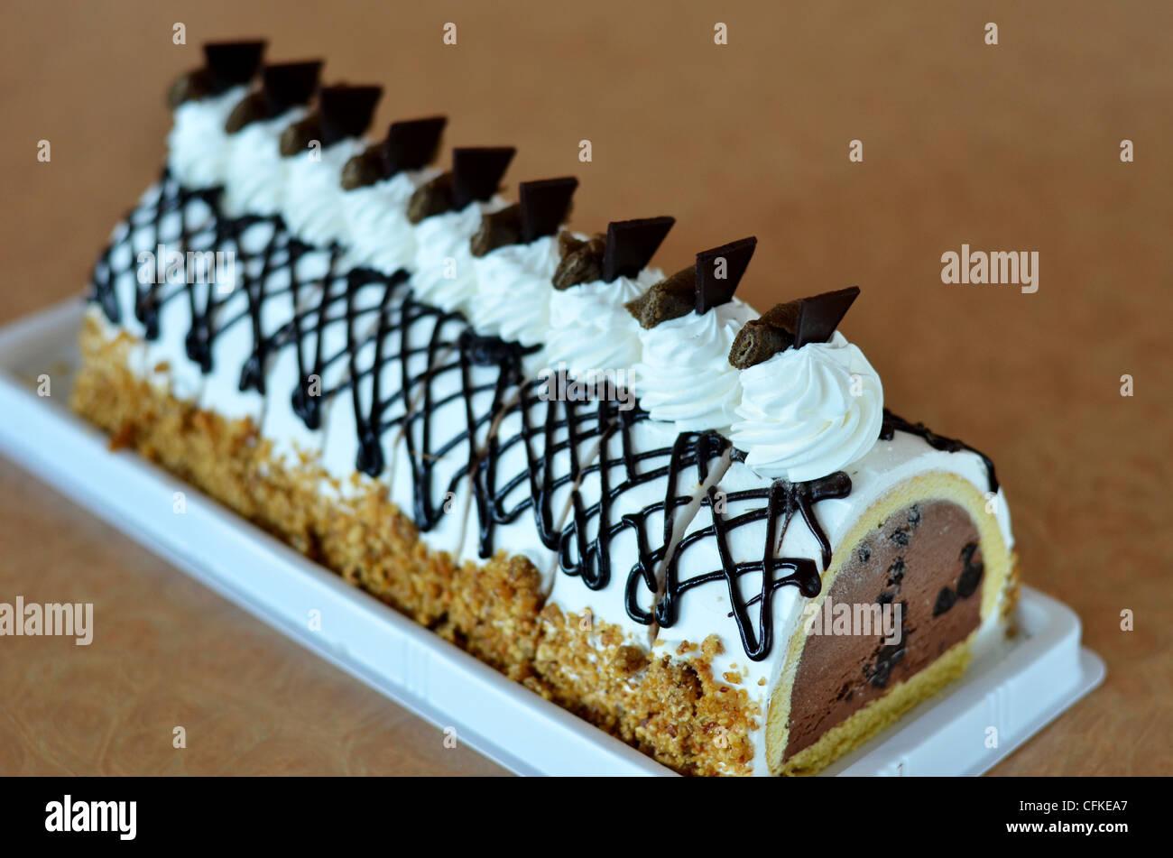 Chocolate Ice Cream Cake Beautiful Decorated Cake Stock Photo